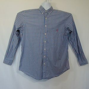 Ralph Lauren Blue Pink Plaid Button Down Shirt